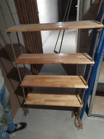 Regał, półki wiszące drewniane