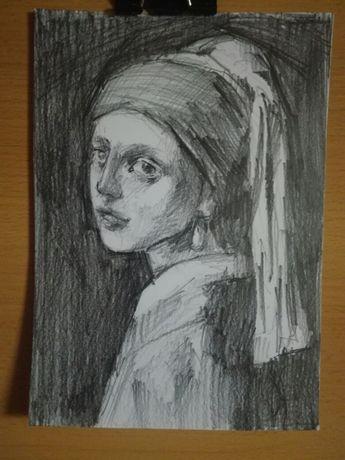 Szkic rysunek dziewczyna z perłą