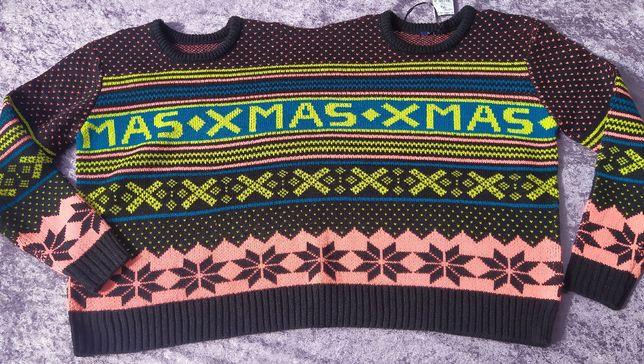 świąteczny sweter na dwie głowy dwie osoby Kiabi jedyny taki podwójny