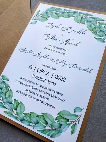 Zaproszenia ślubne eko na ślub wesele rustykalne dużo wzorów zielone