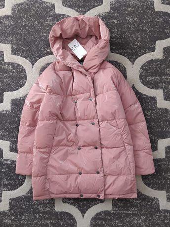 Ocieplana kurtka zimowa Zara metalizowana pudrowy róż S 36 oversize