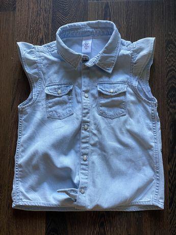 Koszula bezrękawnik dzins roz122 stan idealny