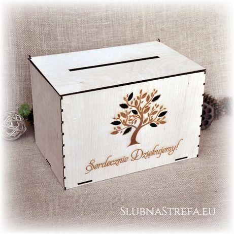 Drewniana skrzynka na koperty drzewko rustykalna