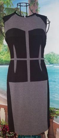 Vestido cintado preto e cinza BCBG (36/38)
