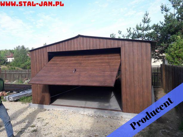 Garaż blaszany/blaszak orzech 4x6, dwuspad, uchylna brama, śląskie