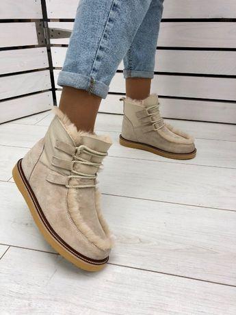 Женские ботинки зимние уги кожаные замшевые от 35 до 42