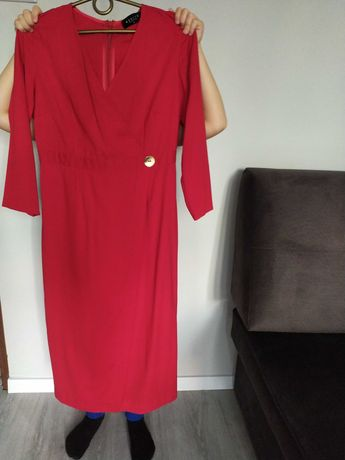Mohito sukienka czerwona ciążowa, idealna na brzuszek