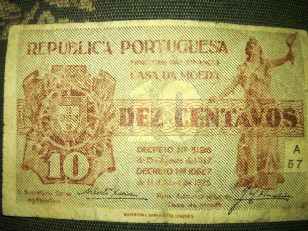 Vendo nota antiga de Dez Centavos