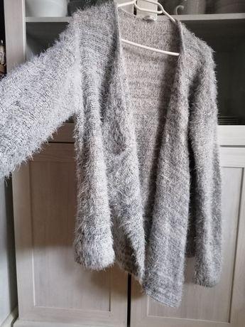 Narzutka blezer włochacz sweter szary milutki kardigan M L 38 40