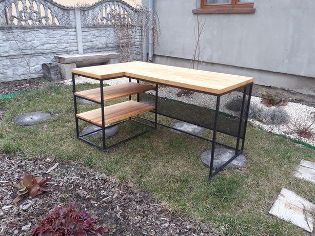 Biurko loftowe narożne. Lite drewno grubości blat 4cm. 160x70 /160x100