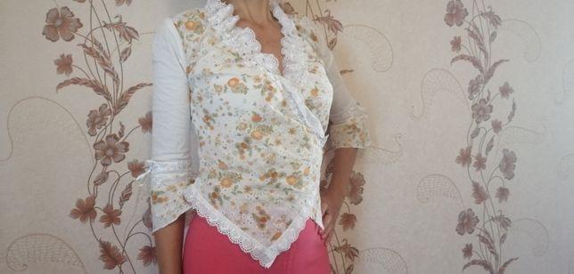 Женская кофта, блузка с кружевом