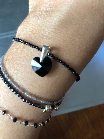 Swarovski serduszko przywieszka do bransoletki lub łańcuszka czarne