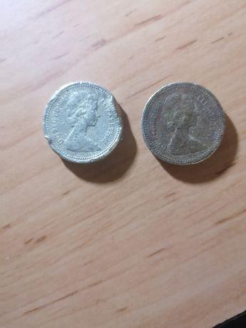 2x Monety One Pound rok 1983(destrukt)