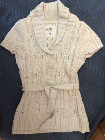 Cardigan em algodão e lã
