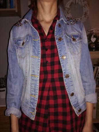 Kurtka jeansowa 38, M, katana na wiosnę, ćwieki