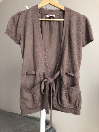 Sweterek kardigan brązowy Orsay wiązany kokardka 34 XS