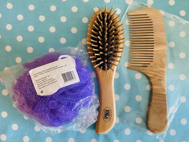 Деревянная расческа и гребешок для волос мочалка