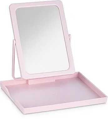Дзеркало рожеве з косметичкою
