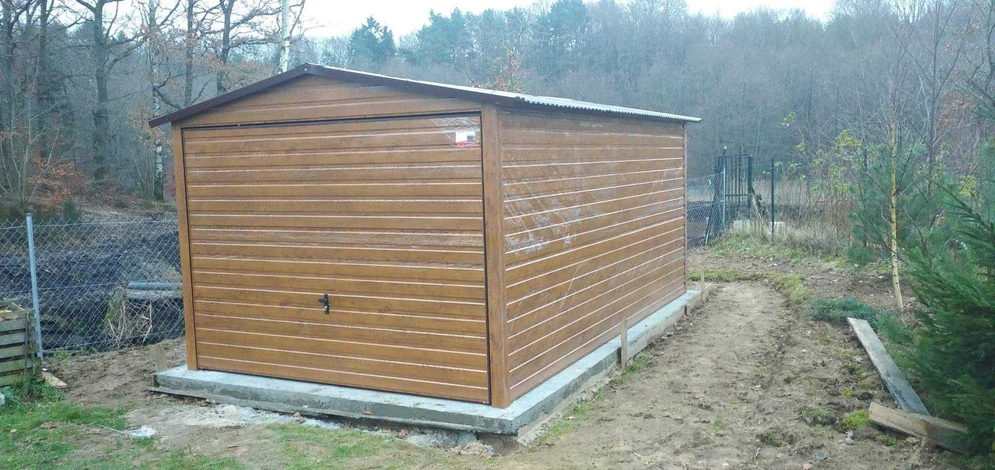 Garaż blaszany 3x5,4x6,6x5,złoty dąb, imitacja drewna,producent garaży