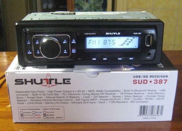 Автомагнитола Shuttle SUD-387 (Bluetooth, белая подсветка)