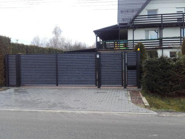 Brama przesuwna palisadowa ocynkowana malowana proszkowo komplet