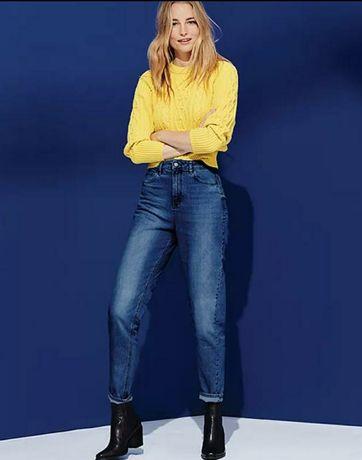 Джинсовые брюки,мом джинсы,высокая посадка