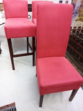 Hokery i krzesło tapicerowane