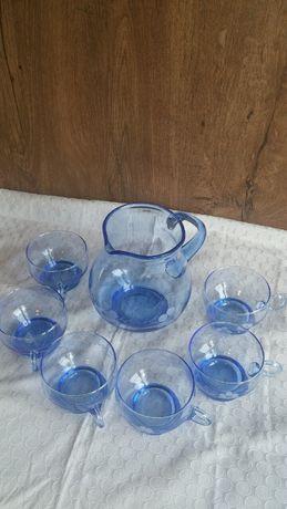 Komplet zestaw do napojów dzbanek filiżanki szkło kolorowe prl
