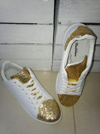białe adidasy buty trampki nowe błyszczące złote cekiny rozm 36
