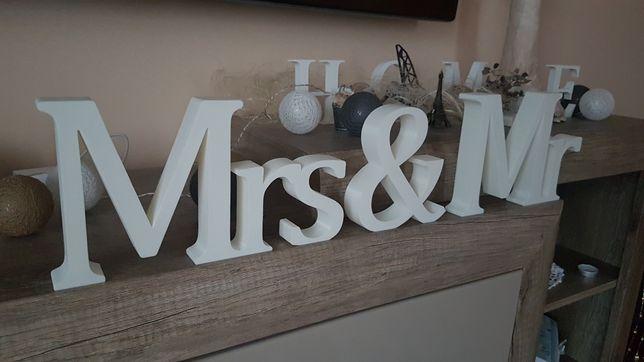 Mrs & Mr 15cm litery 3d wesele inicjały na stół napis dekoracje