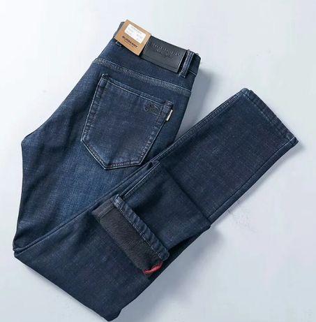 Зимние мужские утепленные джинсы BURBERRY Флис Код: КГА1479