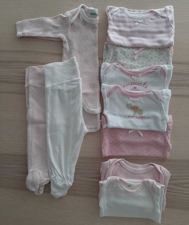 8 Bodies e 2 calças 0-3 meses- Benetton e Zippy