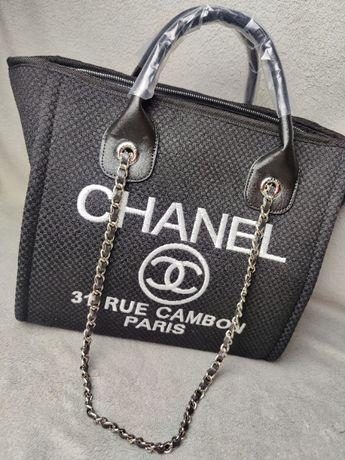 Torebka shoperka Chanel Rue 31 Torba Czarna materiałowa Premium