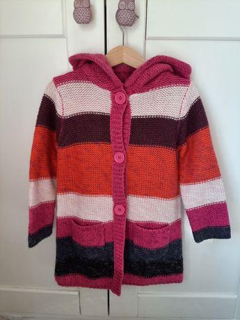 Sweter dla dziewczynki  110 z dodatkiem wełny.
