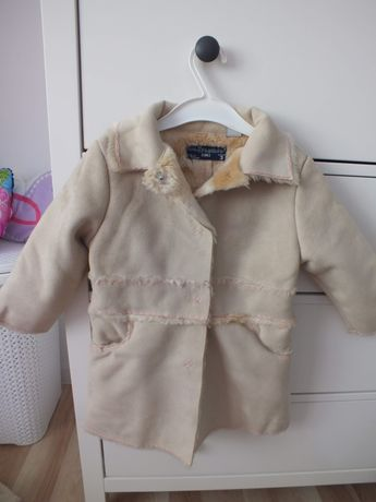 Ciepły zimowy płaszczyk na misiu firmy Zara rozmiar 92-98