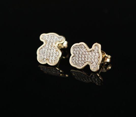 """Złoto 585 - złote kolczyki """"MISIE"""" z cyrkoniami."""