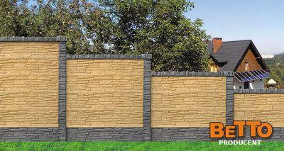 Betonowe ogrodzenie z dwóch stron dwustronne grafitowe