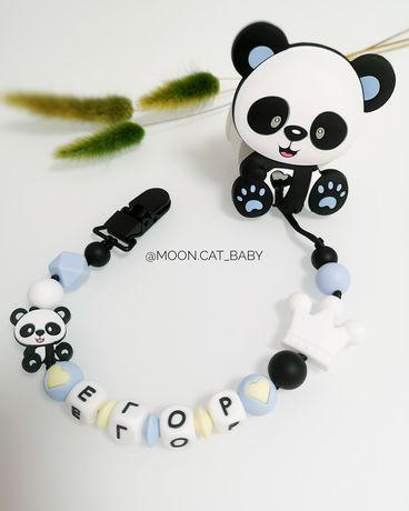 Стильный именной грызунок панда прорезыватель держатель для мальчика
