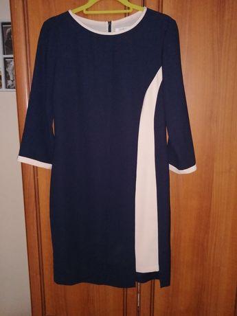 Elegancka granatowa wyszczuplająca sukienka Taranko rozm. 38