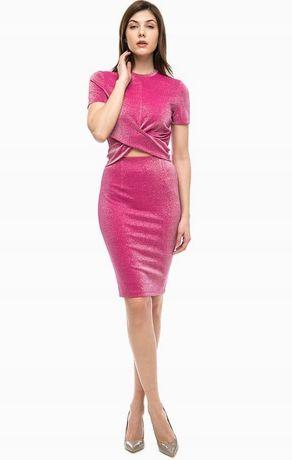 Nowy Komplet Guess spódnica + bluzka rozmiar S różowy