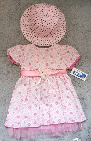Nowa sukienka z metka i kapelusik w zestawie tylko 25zl r 98