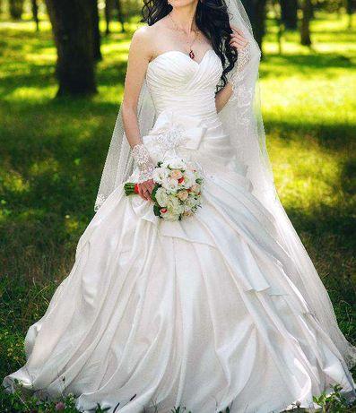 Свадебное платье, айвори, атлас