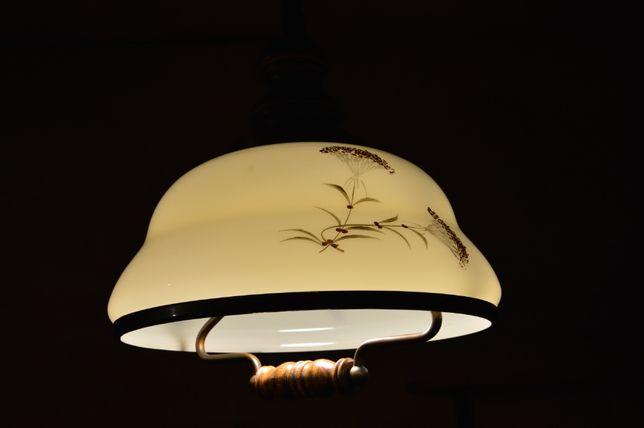 lampa wisząca, rustykalna, retro, drewno, malowana na szkle, reg. wys.