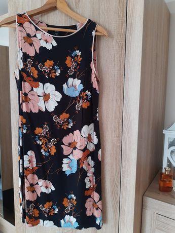 Czarna letnia sukienka w kwiaty lekki materiał F&F r.38