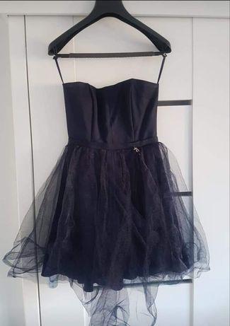Sukienka granatowa z tiulem i brokatem M/38