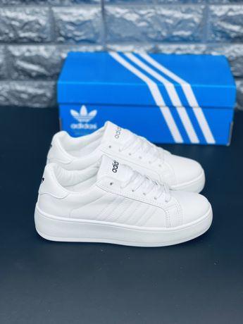 Новинка! Белые базовые кроссовки Адидас Газель. Adidas Gazelle White
