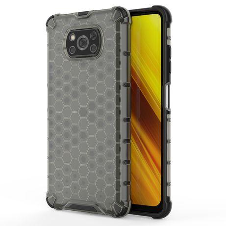 Capa Silicone Traseira Honeycomb Case Armor Cover Bumper Xiaomi Poco X3 Nfc / Poco X3 Pro Preto