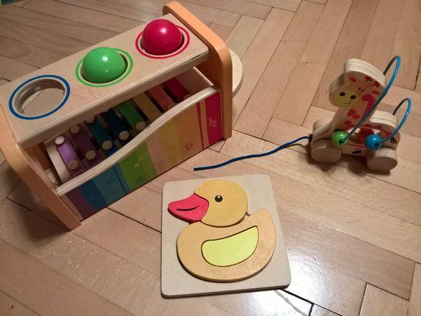 Zestaw drewnianych zabawek dla najmłodszych - cymbałki Hape, ...