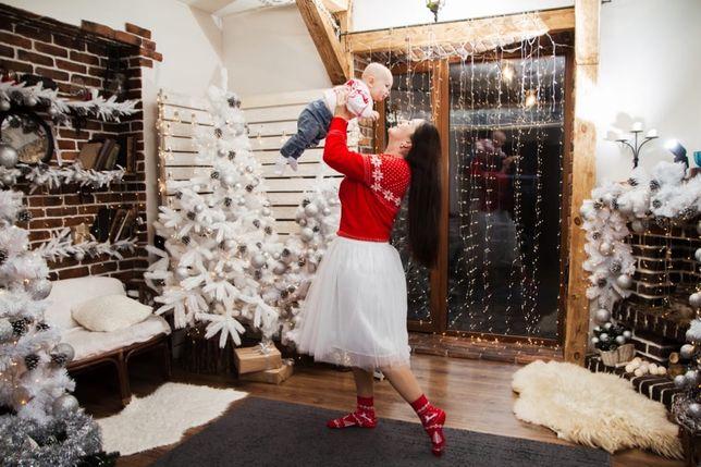 Новогодний свитер H&M и фатиновая юбка