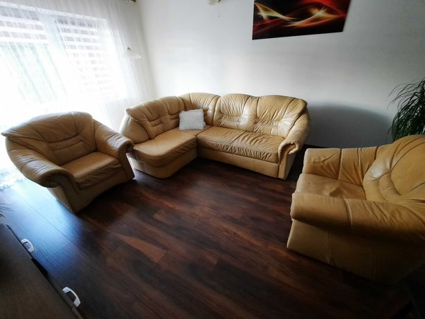 Skórzana kanapa i fotele